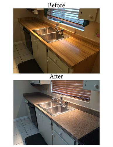 New surface applied to old butcher block counter top.