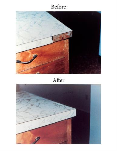 Repair laminate tops.