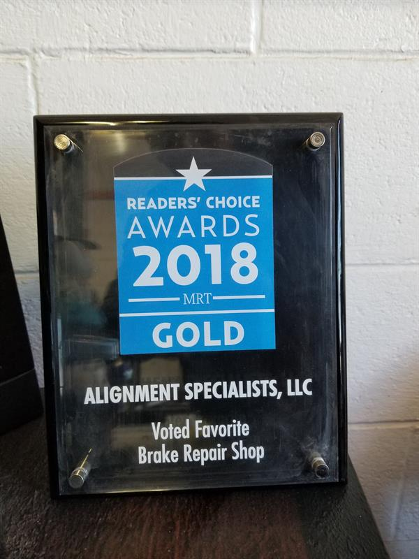 Readers' Choice Awards 2018 MRT GOLD Alignment Specialists, LLC Voted Favorite Brake Repair Shop