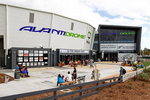Exterior, interior and track signage at Avantidrome | Home of Cycling