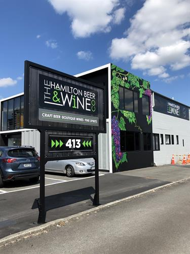 External signage and graphics - Hamilton Beer & Wine Company