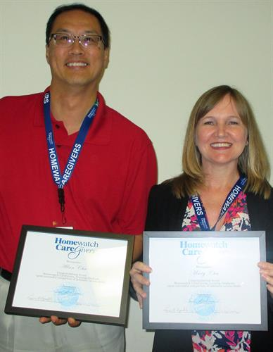 Allan & Mary graduating from Homewatch Training