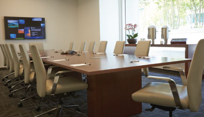 Crowley boardroom, one of six boardrooms with LCD, wireless internet & polycom