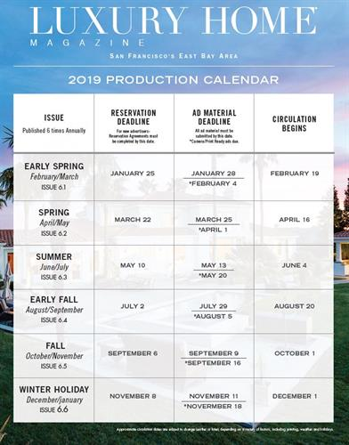 Luxury Home Magazine 2019 Production Calendar
