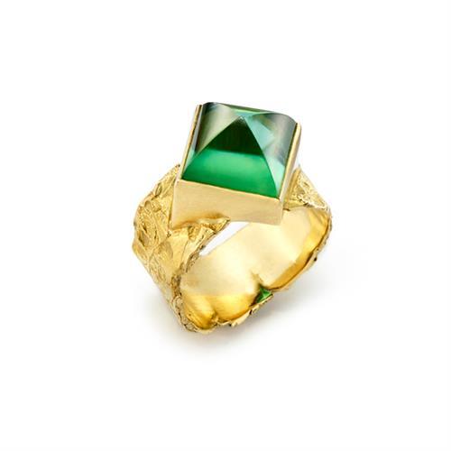 Sugarloaf Cut Green Tourmaline set in 18kt Gold Seascape Wrap Band