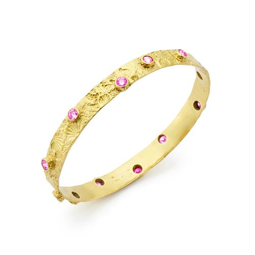 Textured Seascape Bangles with Pink Sapphires set in 18kt Gold