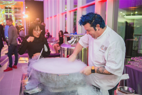 Chef Jason Santos whips up cocktails at Mercedes-Benz Opening