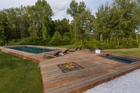 Natural wood pool and spa combination