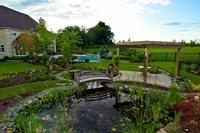 Landscape design with koi pond