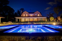 Pool and space complete with LED lighting features