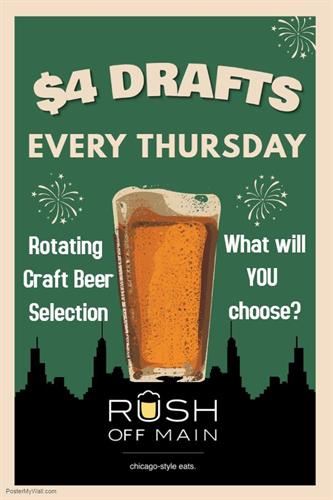 $4 Drafts every Thursday!