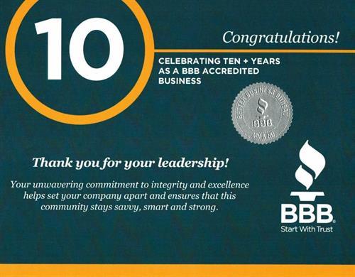 10 YR BBB Award