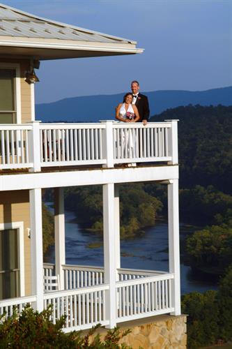 Newly married couple on the deck
