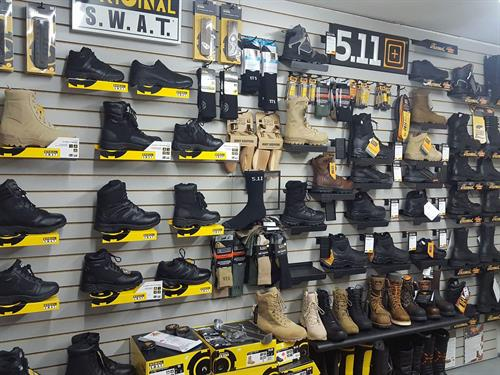 We have a large selection of tactical boots, work boots, and safety footwear
