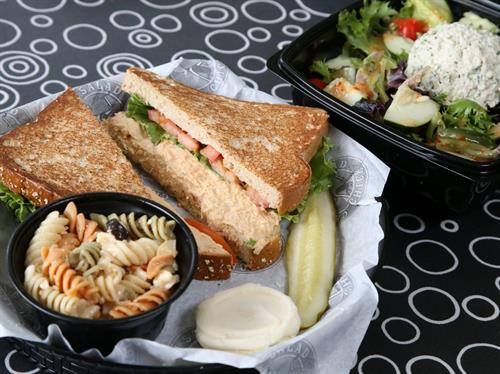 Chicken Salad Sandwich, toasted with Pasta Salad