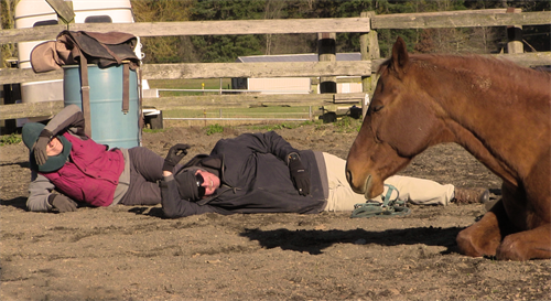Sonja lays down in the arena with a veteran and Rusty.