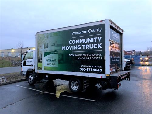 Our community moving truck is for use for our clients, and for local non-profits and charities.