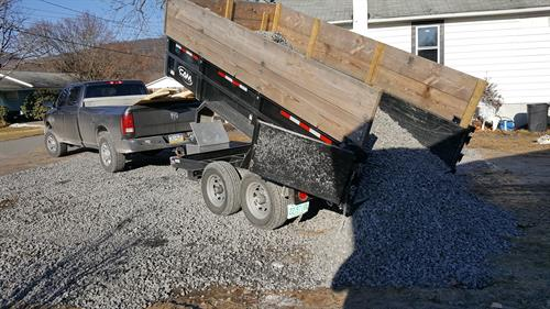 Delivering a load of gravel in Exeter, PA