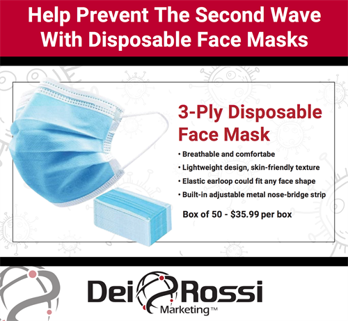3-Ply Disposable Face Mask - In Stock - Ship Ready