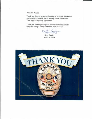 Thank YOU McKinney Police!