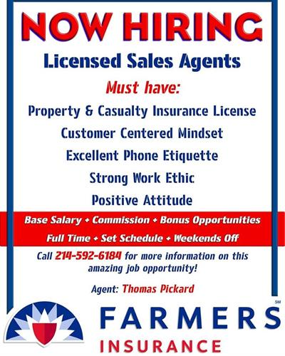 Call us if you are looking for a career in insurance!