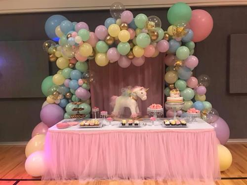 Balloo Decor with back drop, Dessert Table