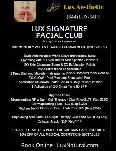 Lux Diamond Facial Club includes IPL Laser photofacials as well as dermaplanning and medium depth peels monthly.