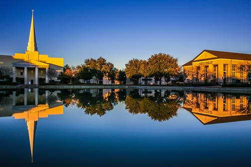 The Reflection Pond, Lightsey Chapel Auditorium (left) and the Whitfield Center for Christian Leadership (right) are at the heart of this beautiful campus