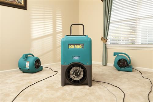 Dehumidifier and air movers help pull moisture from the area