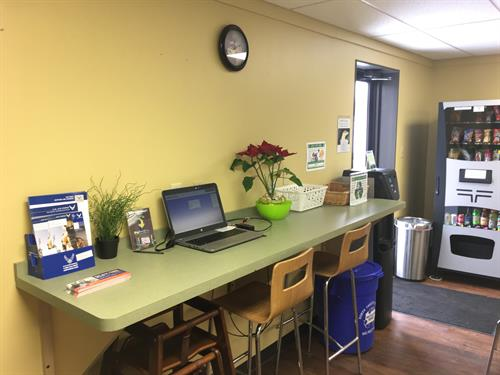 Work from home and tired of the same scenery?  We have work stations.