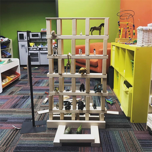 Building with blocks helps to develop hand-eye cordination, teaches early math and engineering skills, improves fine motor and builds spatial awareness.  Of course, it also creates a home for the animals!