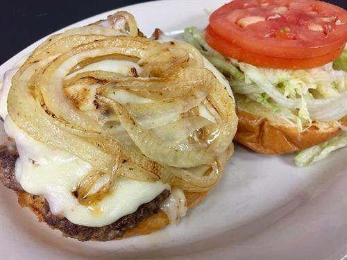 Cheeseburger with grilled onions. Pick your own toppings!