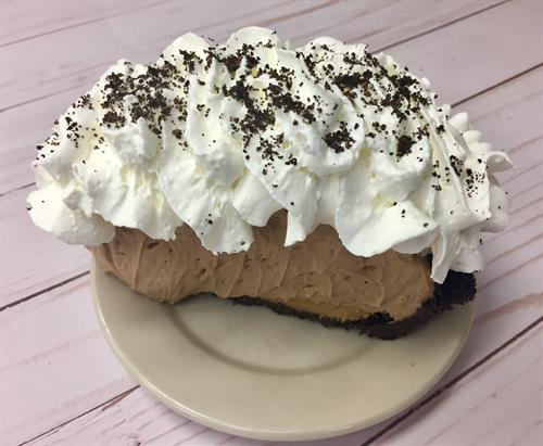 Chocolate Peanut Butter Mousse Pie, order by the slice or pre-order an entire pie!
