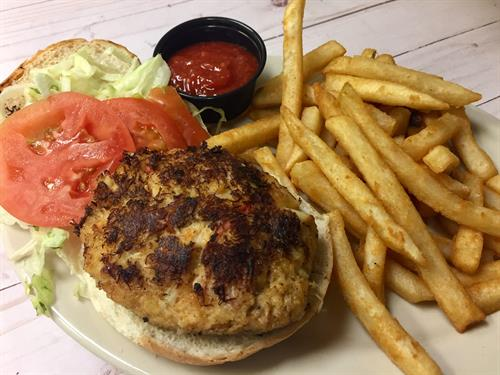 Crab Cake Sandwich with fries, the perfect lunch!