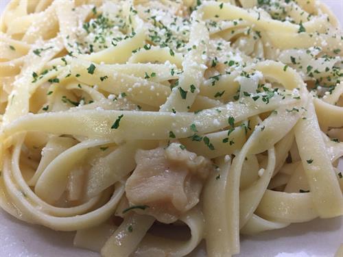 Fettuccine in a white clam sauce