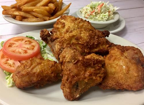 Fried Chicken with fries and slaw a Monday night special