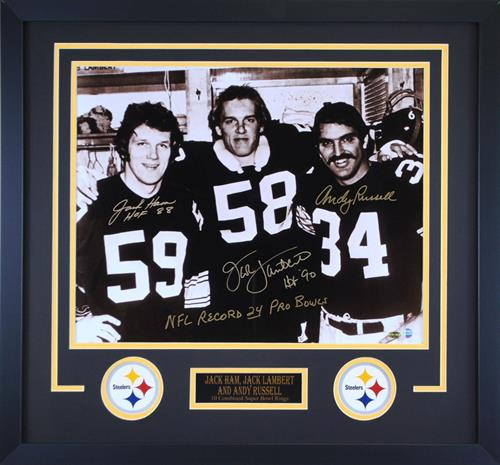 Three Linebackers Autographed 16x20 Photo - Professionally Framed