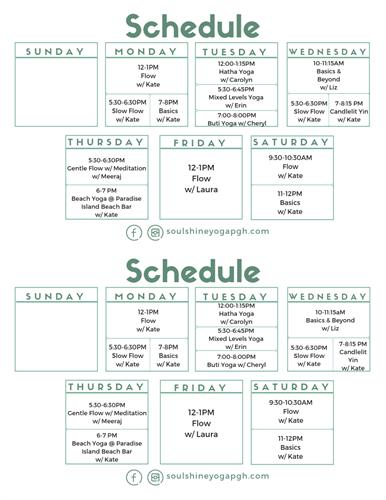 Fall Schedule