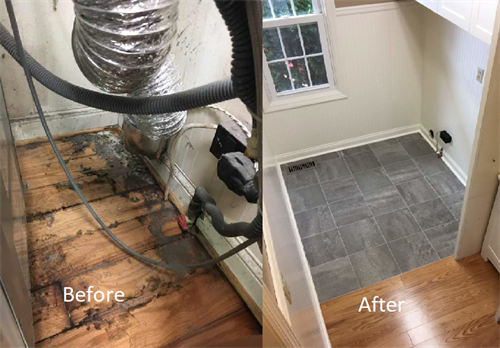 Before and after mold and water damage in Franklin Park, PA.