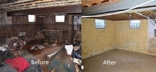 Before and After Flood damage in Washington, PA.