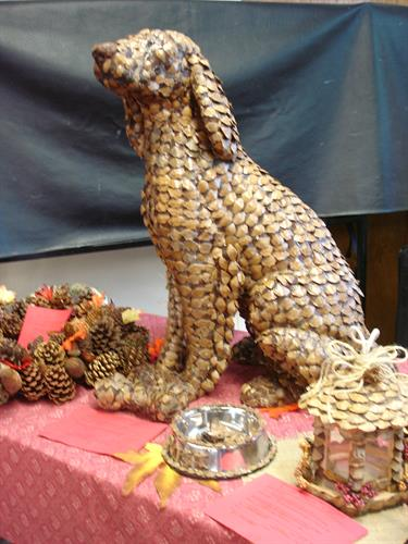 A winner in the adult pine cone craft contest