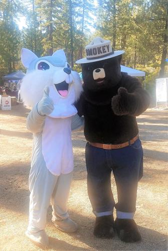Smokey Bear and Pine Cone Festival mascot, Cheekers the Squirrel