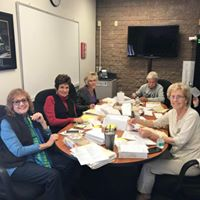 Foundation members working on their year-end appeal for donations.