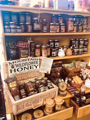 We have a huge selection of local honey from the San Bernardino mountains including wildflower, lemon, lavender, orange spice, blackberry and other seasonal flavors.