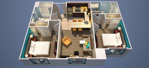 Suite - Floor Plan for Two King Bedrooms