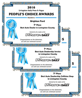 Livingston Daily's 2016 People's Choice Award Winner for Best Auto Dealer, Best Auto Dealer Service and Best Collision Shop.