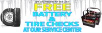Come in to our Service Department for your free battery and tire check.