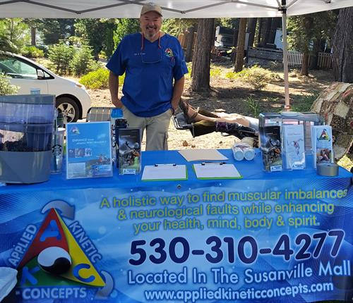 Our Booth supporting Triathletes for Courage Triathlon Lake Almanor
