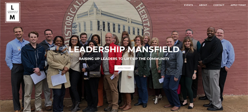 Screenshot of the Leadership Mansfield site, rewritten and designed by Empathy Marketing Group