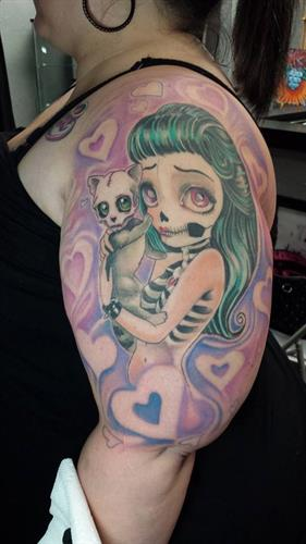 Feline Love By Pete Salais Owner of Pistol Petes Tattoo Saloon